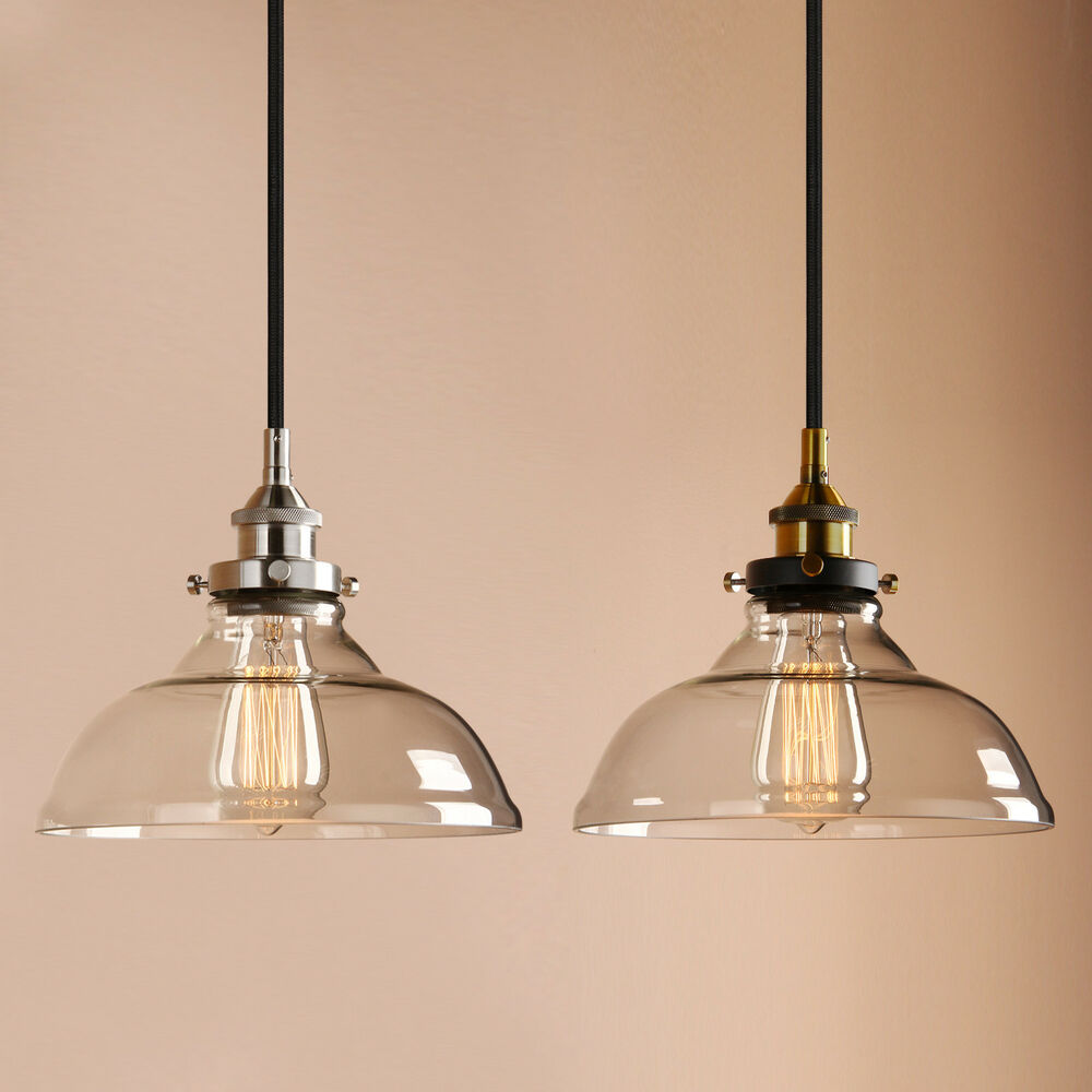 "PERMO 10""Clear Glass Edison Retro Industrial Pendant Light"