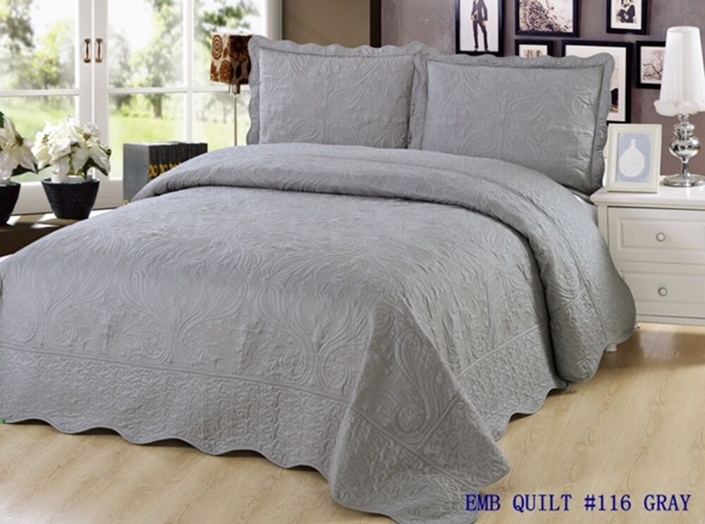 3 Pc Embroidered Quilt Bedding Bedspread Pillow Sham