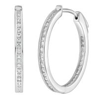 925 Sterling Silver Channel Set Round Inside Out CZ Women ...