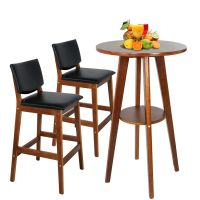 Compact Bar Counter Height With Table & Bar Stools Walnut ...