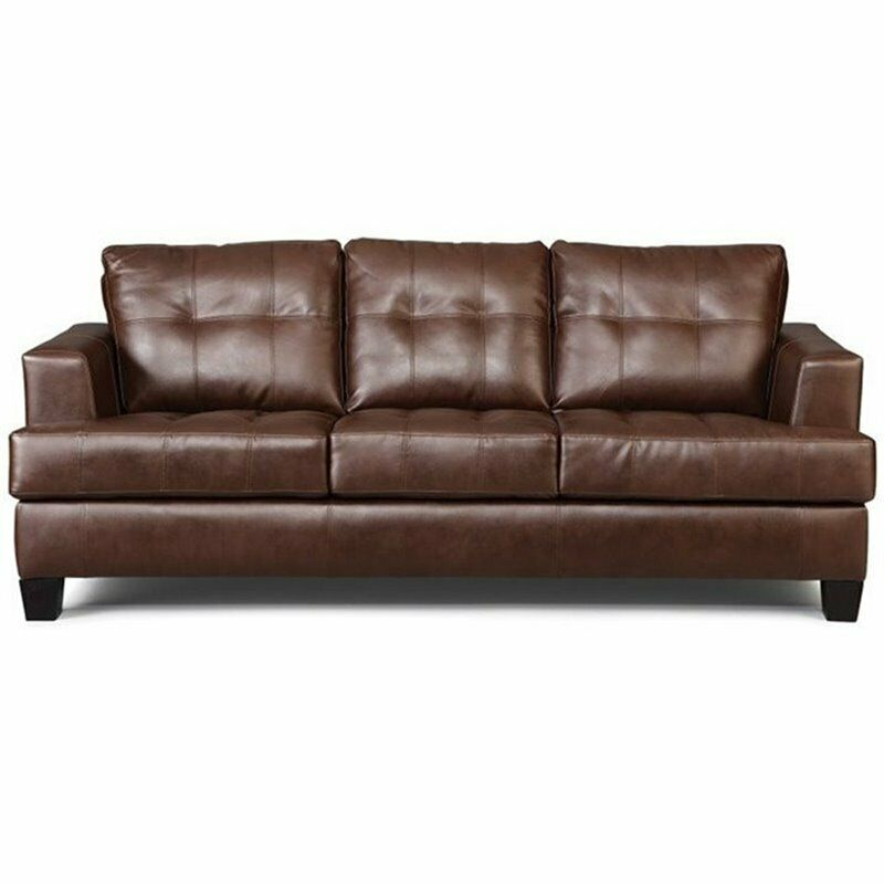 Ebay Sofas Coaster Samuel Faux Leather Stationary Sofa In Dark Brown
