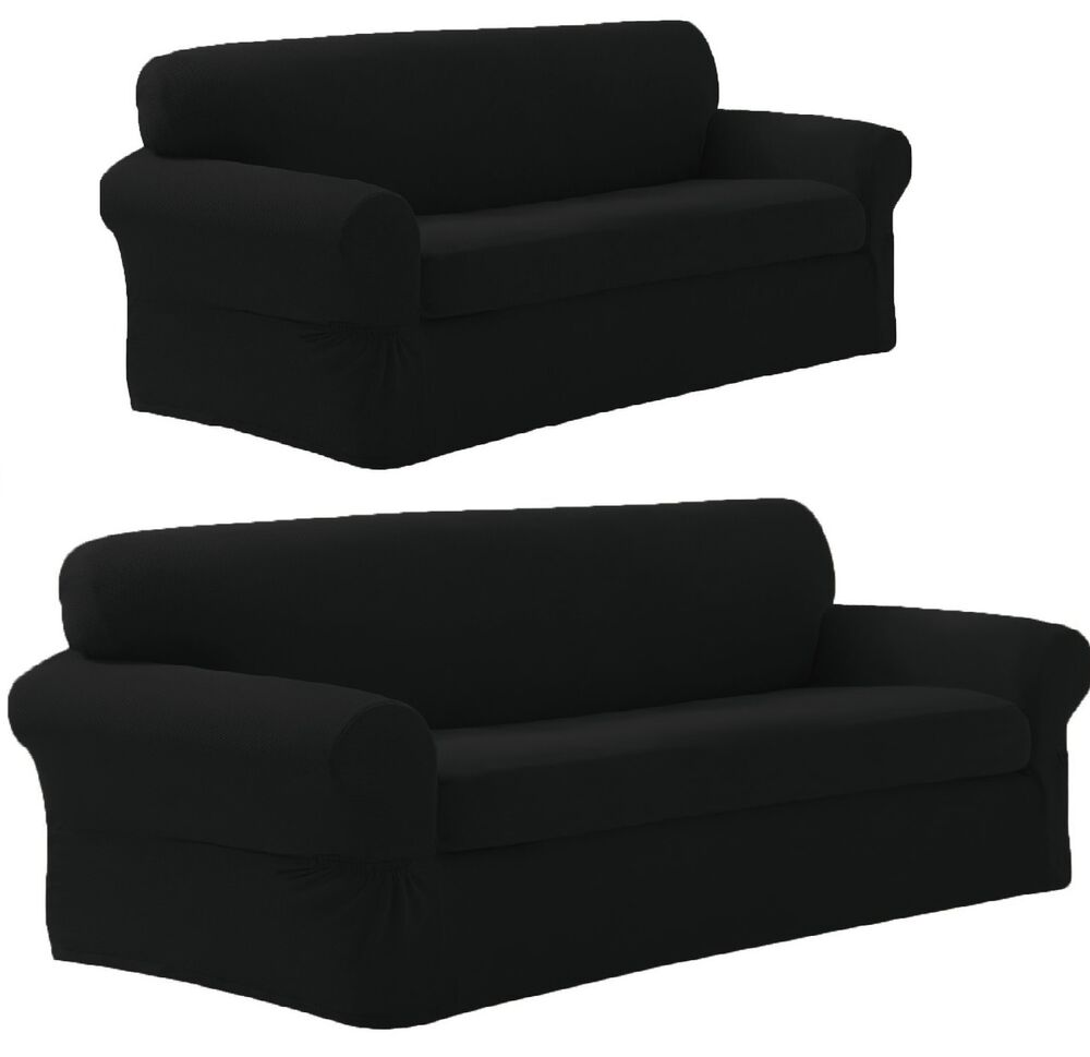 Sofa And Armchair Covers New Stretch Form Fit 2 Pc Slipcovers Set Sofa Loveseat