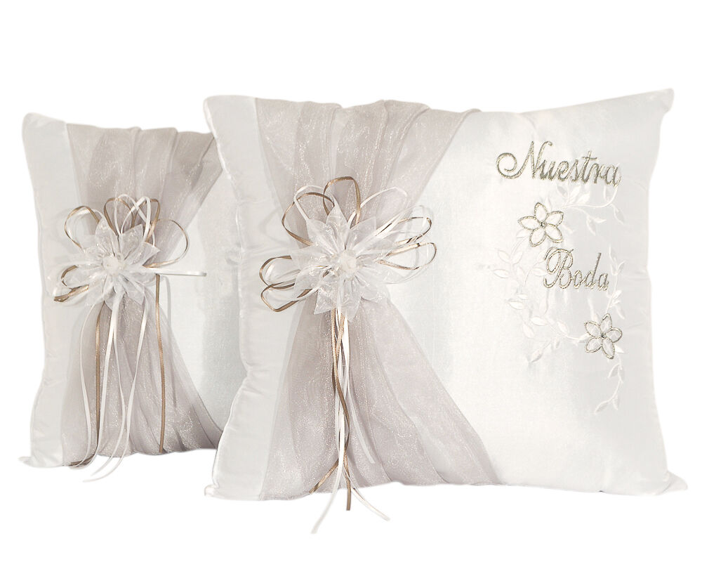 Cojines Para Set Of 2 White Satin Nuestra Boda Wedding Kneeling Pillows Cojines Para Boda Ebay