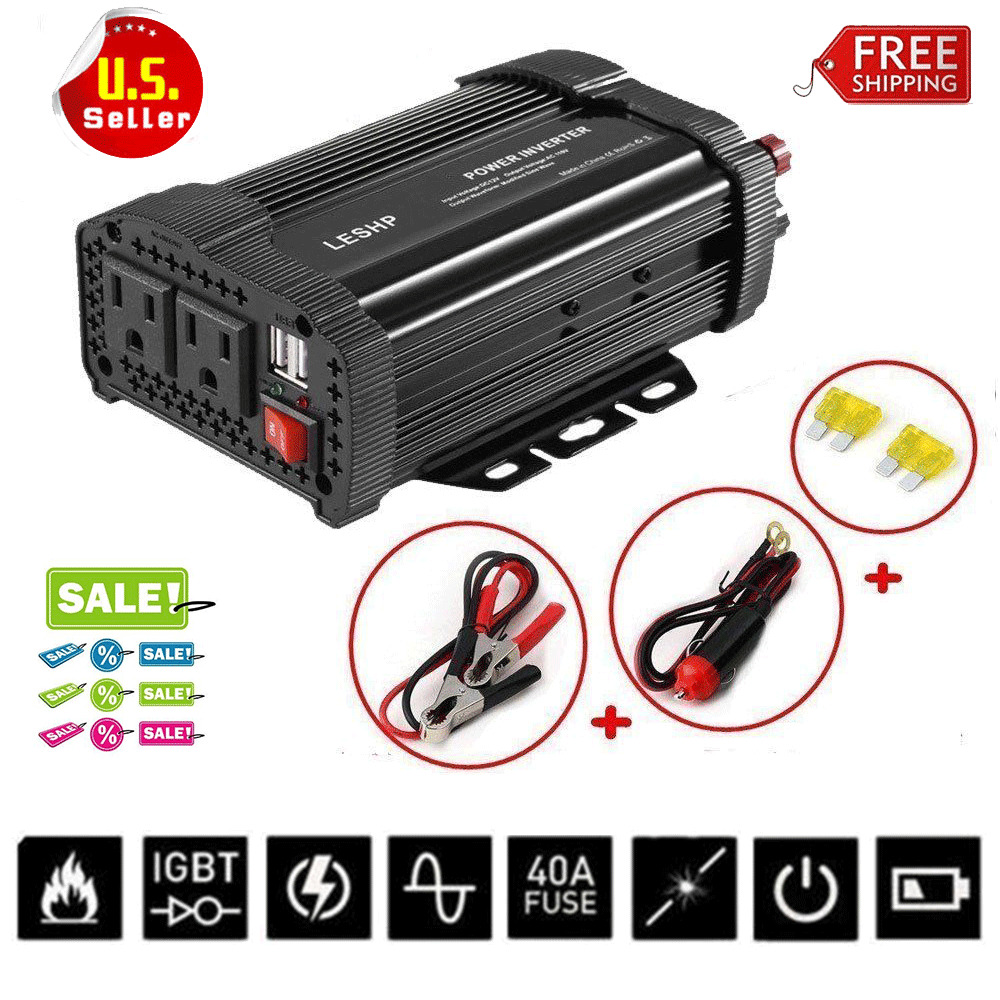 Bettwäsche Ac Dc 1000w 2000w Car Power Inverter Dc 12v To Ac 110v Sine Wave Converter W Charger Ebay