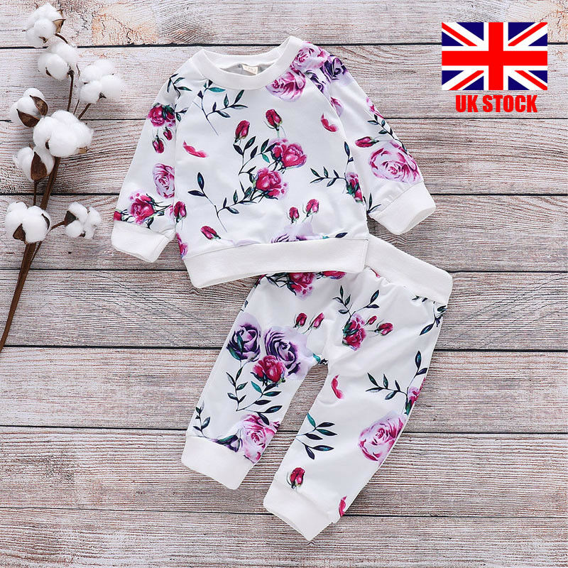Newborn Infant Outfits Uk Girls Newborn Floral Long Sleeve Tops Pants Baby Infant Outfits Tracksuit Ebay