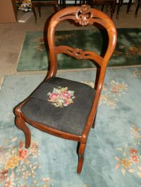 EVER SWEET ANTIQUE ROSE CARVED BALLOON BACK NEEDLEPOINT ...