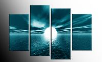 LARGE TEAL SEASCAPE SUNSET CANVAS PICTURES WALL ART SPLIT ...