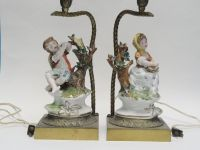 PAIR of ANTIQUE PORCELAIN FIGURINE TABLE LAMP * MADE IN ...