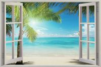 3D Sunshine Beach Window View Removable Wall Art Stickers