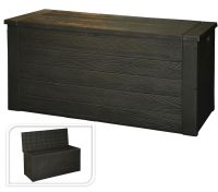 Wood Grain Plastic Garden Storage Box With Lid Garden ...
