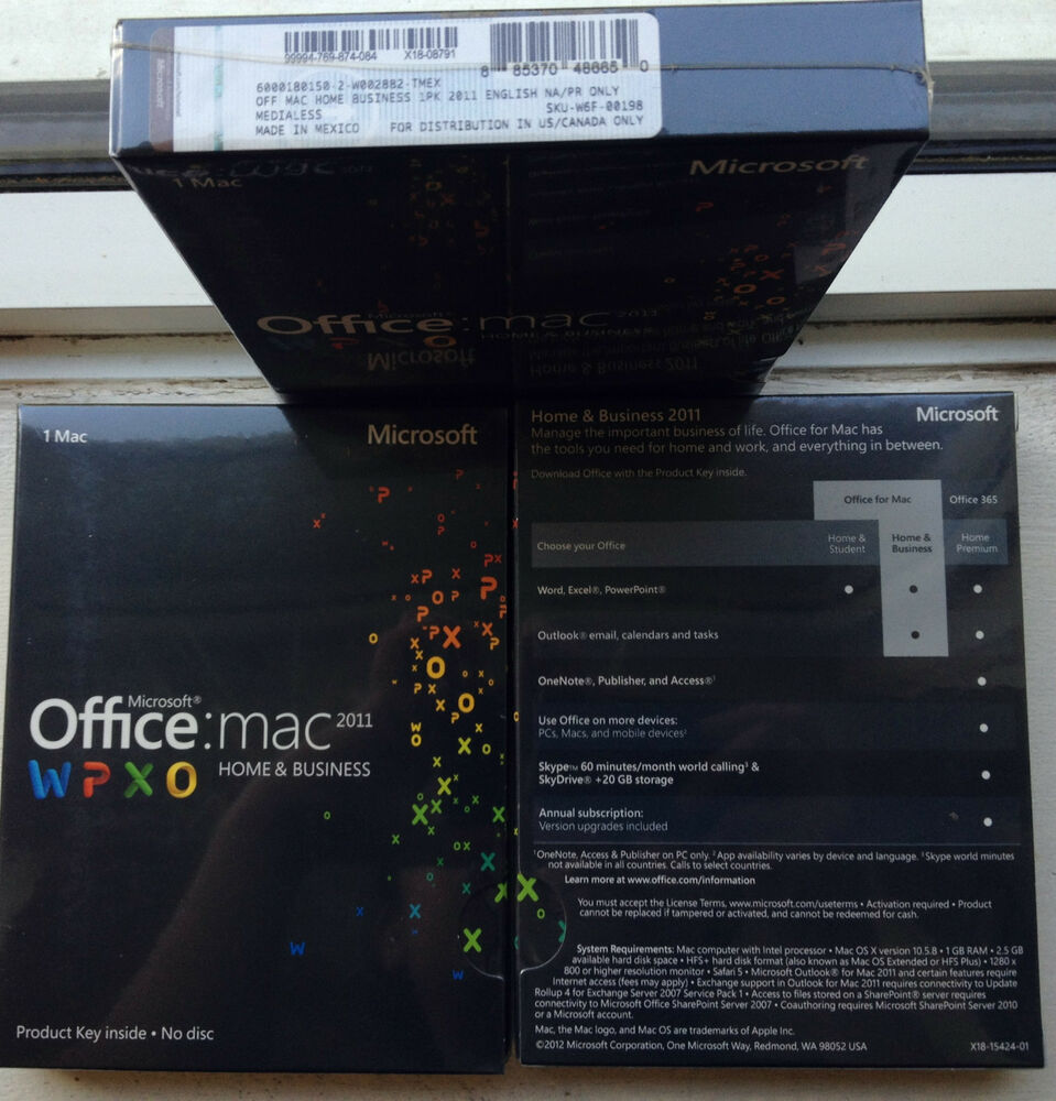 Office Mac 2011 Product Key Microsoft Office Mac Home Business 2011 Sku W6f 00198 Sealed Full Retail License Ebay