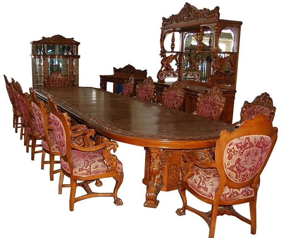 Lounche Dining Set 16-pc. Heavily Carved Oak Winged Griffin Dining Set By R.j