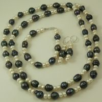 Freshwater Black & White Pearl Necklace, Bracelet and ...