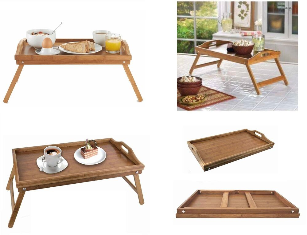 Bamboo Wood Wooden Breakfast Serving Lap Tray Over Bed