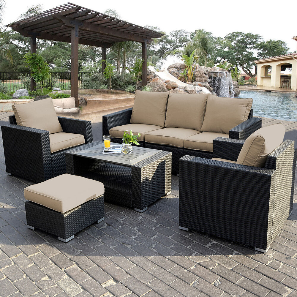 Designer Hollywoodschaukel 7pc Outdoor Patio Patio Sectional Furniture Pe Wicker