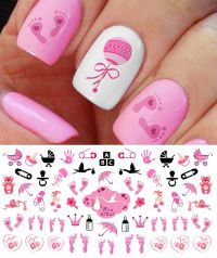 """Its a Girl!"" Nail Art Decals Footprints, Strollers & More ..."