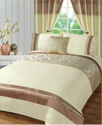 Contemporary Cream Jacquard Damascus Duvet Cover Bedding ...