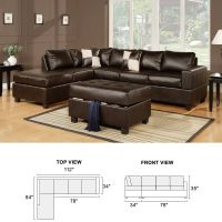3PCs Sectional Sofa Reversible Chaise w/ Ottoman Bonded