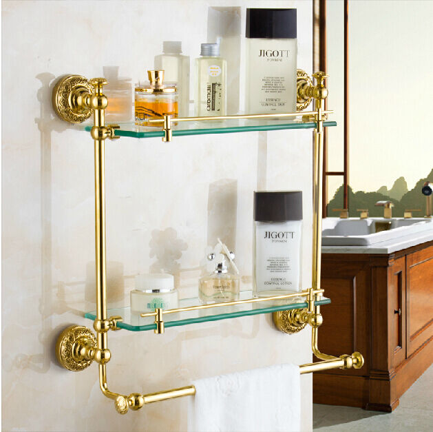 Gold Brass Two Tier Cosmetic Storage Holder Wall Mount
