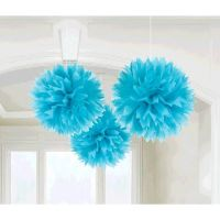 3 Caribbean Blue Engagement Party Hanging Fluffy Tissue ...