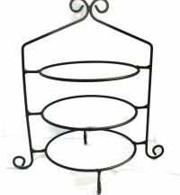 Hand Wrought Black Rod Iron Pie Plate Holder Rack 3 Tier ...