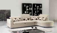 2 PC Euro Modern Ivory Contemporary Fabric Sectional Sofa