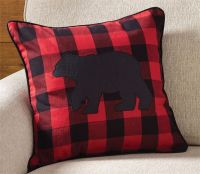 "Park Designs 18"" Buffalo Check Bear Throw Pillow Accent"