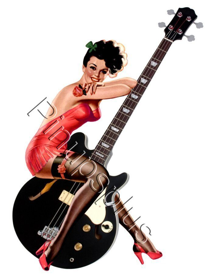 Coop Devil Girl Wallpaper Sexy Pinup Girl On Guitar Waterslide Decal Sticker S669