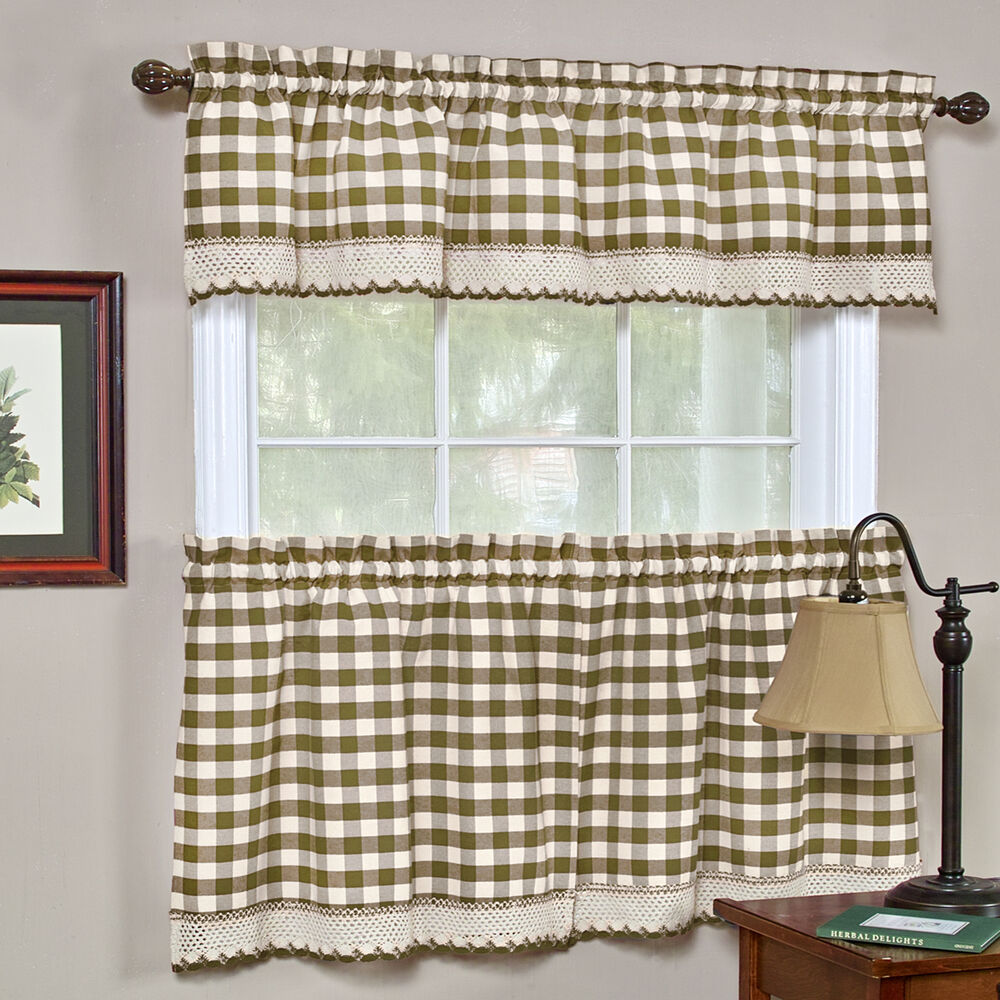 Karo Gardinen Buffalo Check Taupe Gingham Kitchen Curtain Window