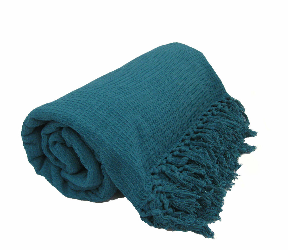 Teal Bed Covers Teal 100% Cotton Sofa / Bed Throw Single Double King Size