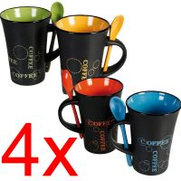 4 X COFFEE MUG WITH SPOON TEA SET DRINK LATTE CUPS CERAMIC ...