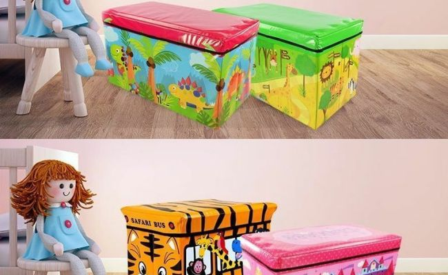Large Toy Box Kids Boys Girls Storage Seat Stool Books