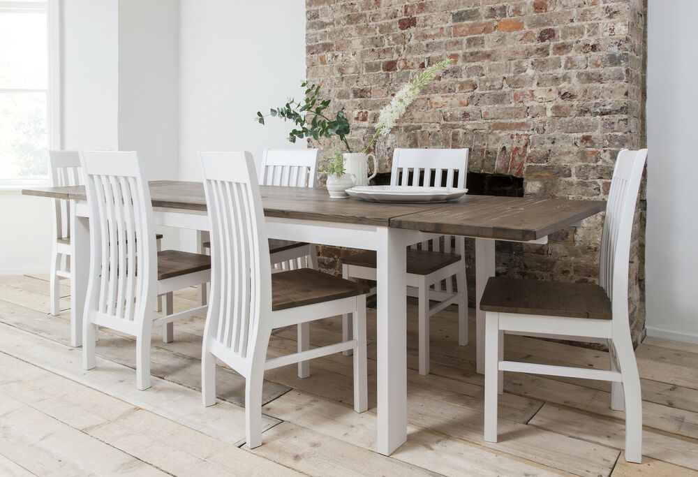 Dining Table And Chairs Dining Set Dark Pine White With