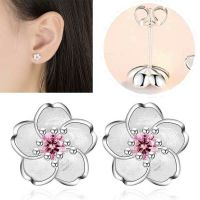 1 Pair Woman's Double Sided White Stud Pearl Front Back ...