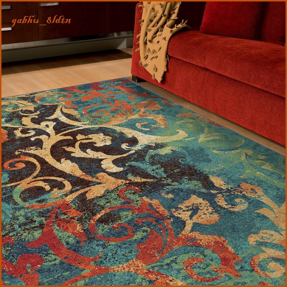 Teal Color Area Rugs Unique Watercolor Scroll Area Rug Teal Blue Red Orange Contemporary Carpet Ebay
