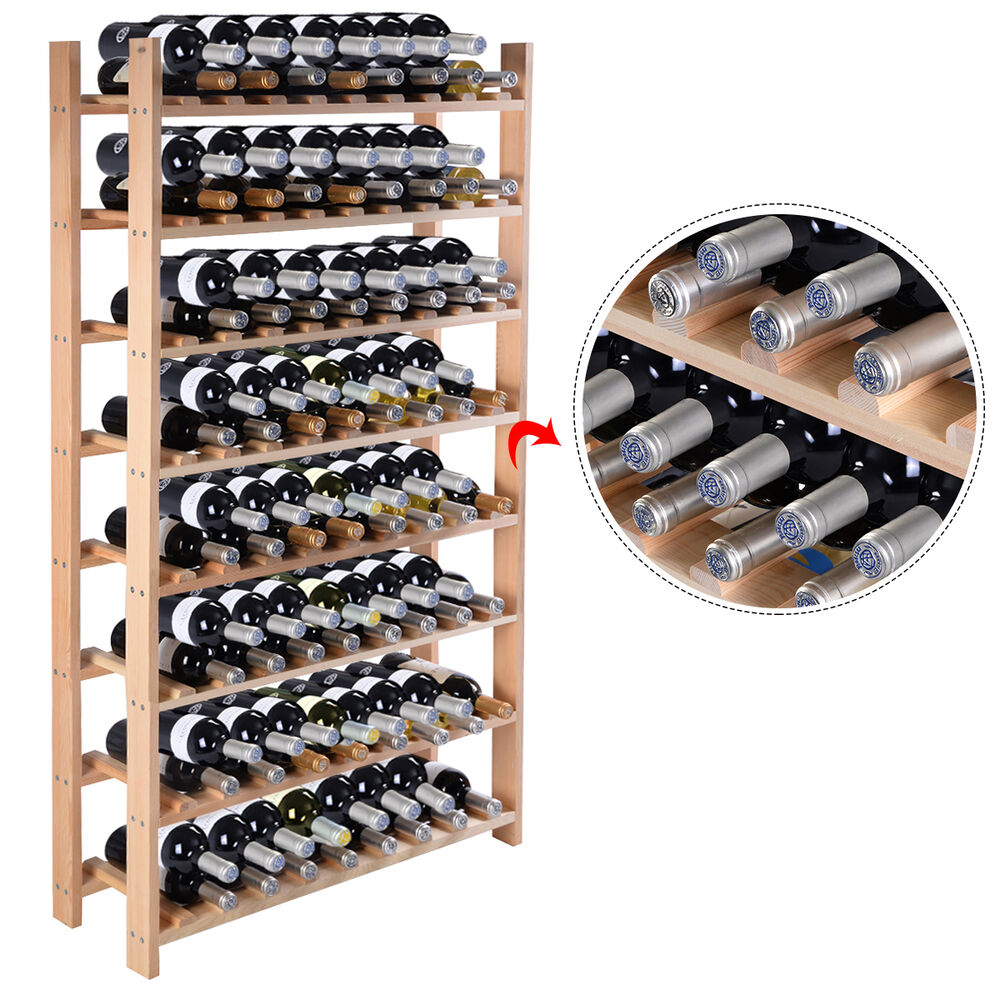 New 120 Bottle Wood Wine Rack 8 Tier Storage Display