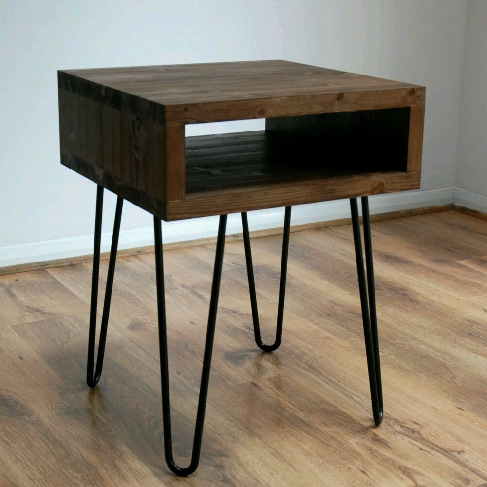 Couchtisch Hairpin Legs Vintage Retro Industrial Side Table Metal Hairpin Legs Solid Wood Rustic Unit Ebay