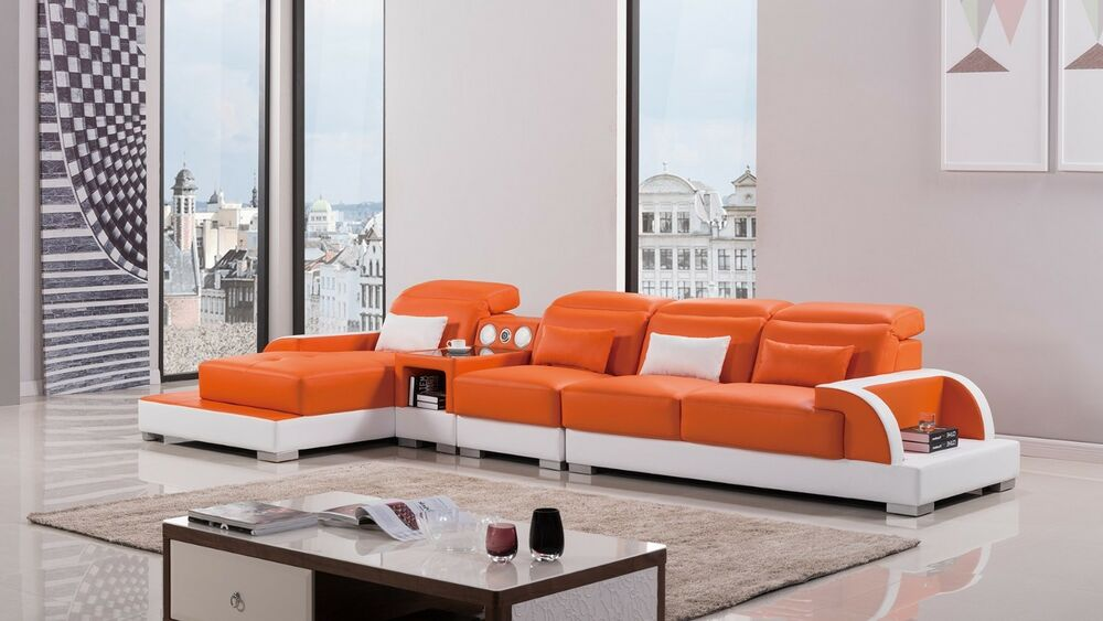 Modern Orange Ivory Leather Sectional Sofa Chaise Chair - Bluetooth Couch