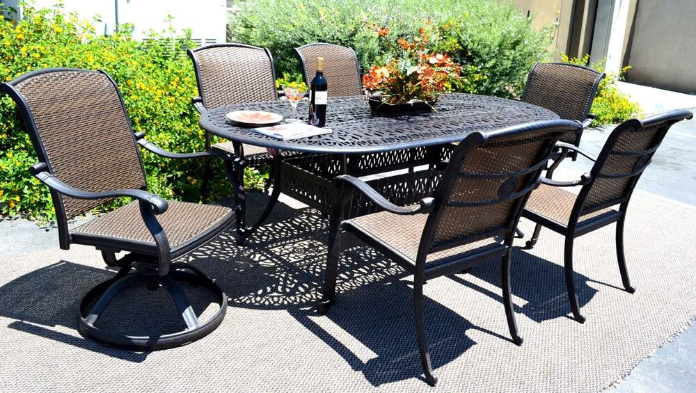 Cast Aluminum Wicker Furniture 7 Piece Dining Set Santa