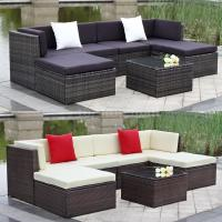 Outdoor Cushioned Wicker Patio Set Garden Lawn Sofa ...