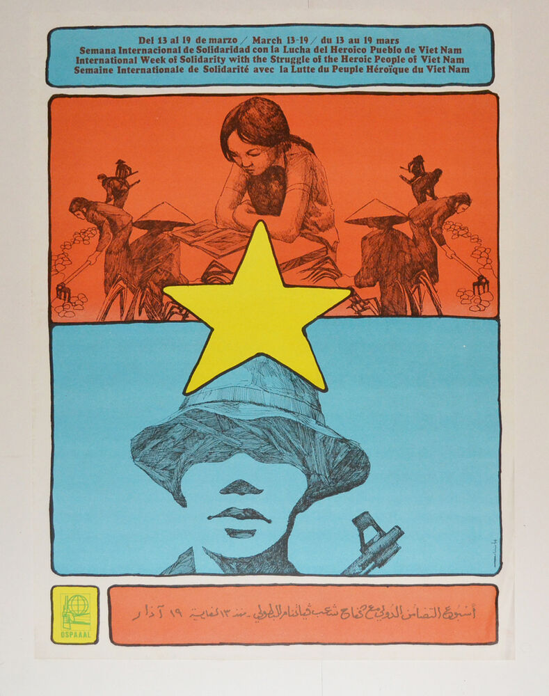 Arte Vietnam English 1974 Cuban Original Political Poster Cold War Propaganda Vietnam Asian Art Ebay