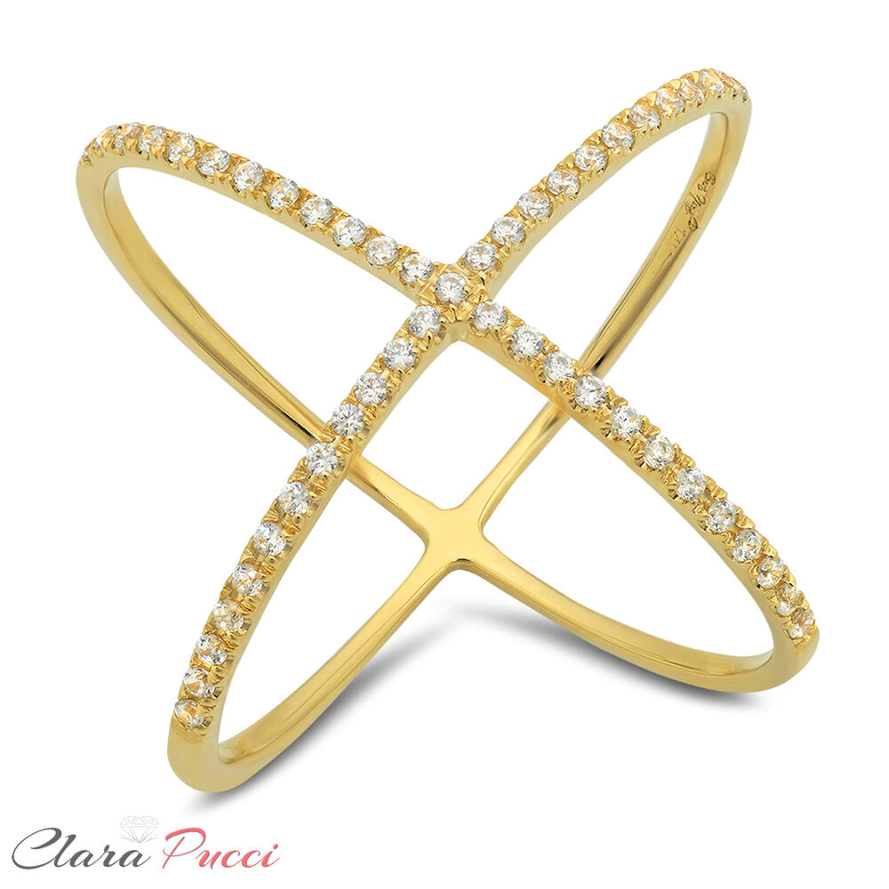 0.60 CT Criss Cross Design Ring Band Round Cut Designer