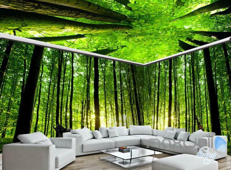 Cheap 3d Wallpaper Uk 3d Animals Green Forest Tree Top Entire Living Room