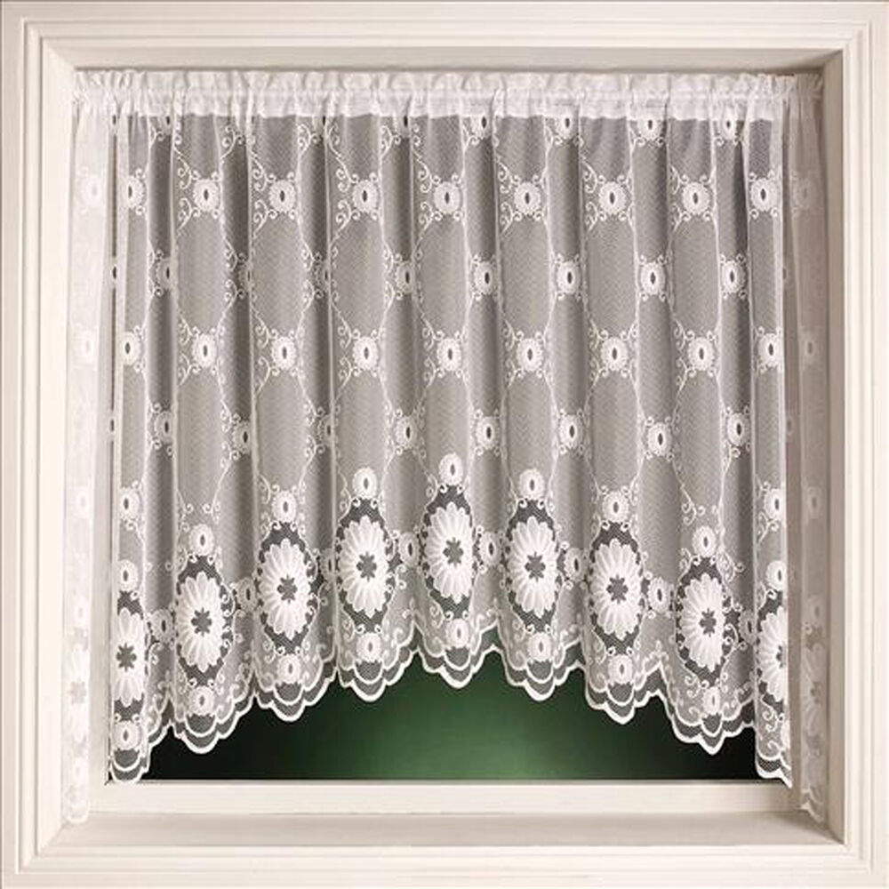 Traditional Curtains Elgin Traditional Design White Lace Net Curtain Jardiniere Voile Ready Made Ebay
