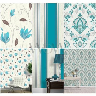 VYMURA SYNERGY TEAL BLUE WHITE SILVER GLITTER WALLPAPER - STRIPE, FLORAL, DAMASK | eBay