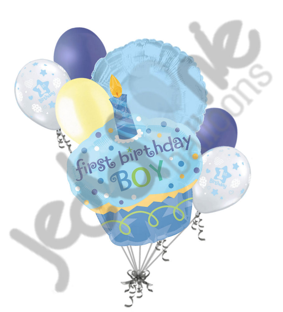 7 Pc Blue Cupcake Happy 1st Birthday Boy Balloon Bouquet Party Decoration Baby Ebay