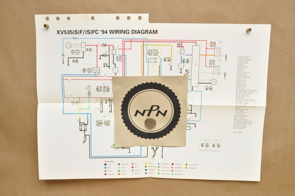1994 Yamaha Virago XV535 S SF SFC FC Factory Color Schematic Wire