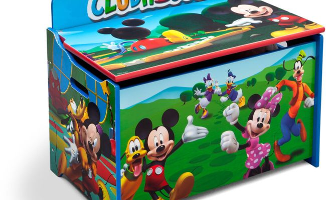 Kids Toy Box Storage Organizer Wood Bench Lid Mickey Mouse