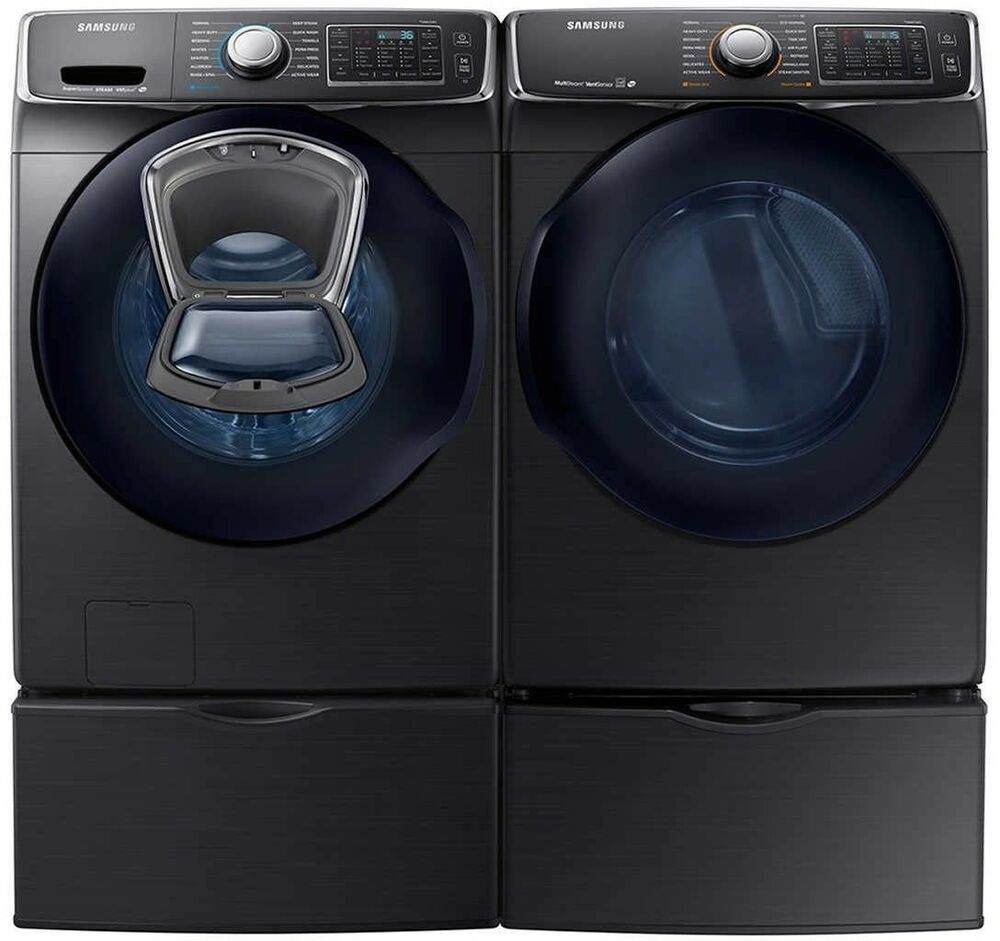 Samsung Front Load Washer Samsung Black Stainless Washer Electric Dryer Pedestals Wf45k6500av Dv45k6500ev Ebay