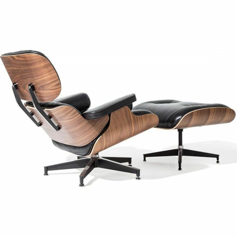 Eames Lounge Sessel Premium Eames Lounge Chair Ottoman Italian Black Leather Real Walnut Wood Ebay